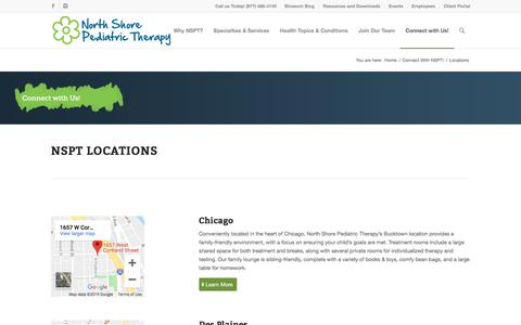 Screenshot of Locations Page nspt4kids.com - Locations - North Shore Pediatric Therapy - captured Oct. 9, 2019
