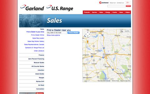 Screenshot of Support Page garland-group.com - Find a Dealer in your Area - Garland - captured Oct. 3, 2014