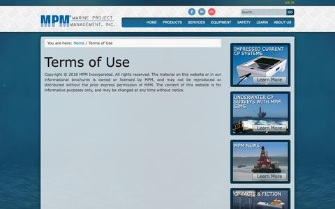 Screenshot of Terms Page mpmi.com - Terms of Use | Marine Project Management, Inc - captured Oct. 2, 2018