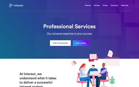Screenshot of Services Page interact-intranet.com - Professional Services | Interact software - captured Feb. 27, 2018