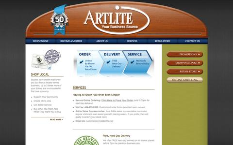 Screenshot of Services Page artlite.net - Services - captured Oct. 4, 2014
