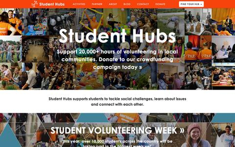 Screenshot of Home Page studenthubs.org - Student Hubs - captured Feb. 25, 2016