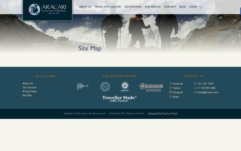 Screenshot of Site Map Page aracari.com - Site Map - Aracari - captured Feb. 6, 2016