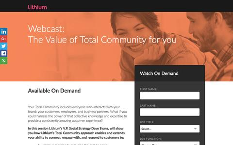 Screenshot of Landing Page lithium.com - The value of Total Community for you - captured Dec. 24, 2016