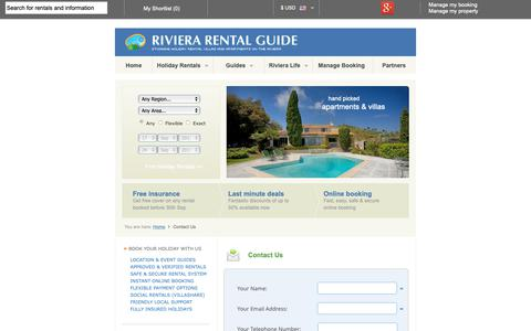 Screenshot of Contact Page rivierarentalguide.com - Contact Us | Riviera Rental Guide - captured Oct. 18, 2018