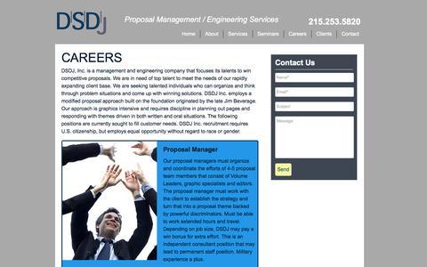 Screenshot of Jobs Page dsdjinc.com - Proposal Manager | Consultant | Government | Management - DSDJinc.com | DSDJINC - captured Oct. 27, 2014
