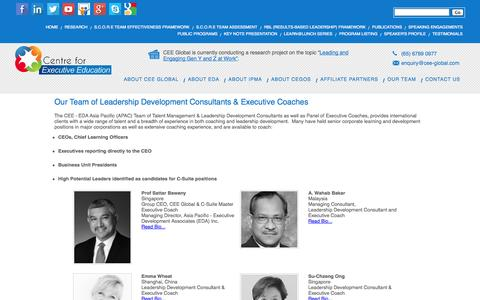 Screenshot of Team Page cee-global.com - Centre for Executive Education - The CEE - EDA Asia Pacific (APAC) Team of Talent Management & Leadership Development Consultants as well as members of Panel of Executive Coaches, provides international clients with a wide range of talent and a bread - captured Oct. 2, 2014