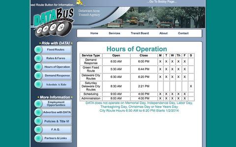 Screenshot of Hours Page ridedata.com - DATA Bus - captured Nov. 24, 2016