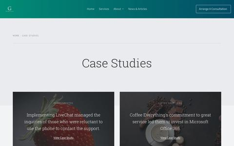 Screenshot of Case Studies Page the-glitterati.com - Case Studies Archive - The Glitterati - captured Sept. 21, 2018