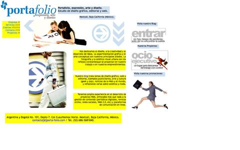 Screenshot of Home Page porta-folio.com - Empresa de diseño gráfico editorial y Web. Servicios de comunicación y creatividad, arte y estética visual - captured Sept. 12, 2015