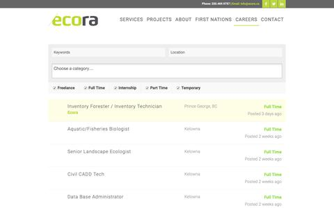 Screenshot of Jobs Page ecora.ca - Work at Ecora - Ecora - captured Dec. 14, 2018