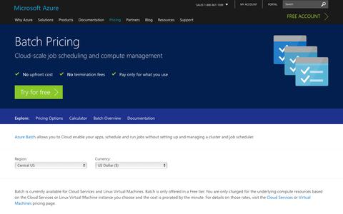 Screenshot of Pricing Page microsoft.com - Pricing - Batch | Microsoft Azure - captured Jan. 5, 2017
