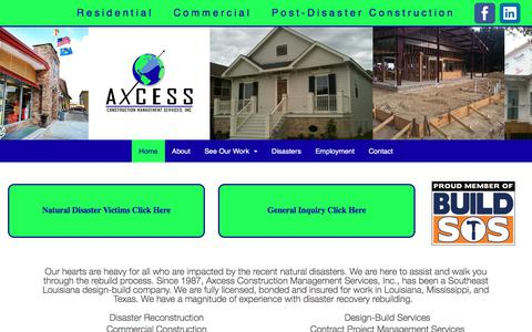 Screenshot of Home Page axcessconstruction.com - new home - Axcess Construction - captured Oct. 9, 2017