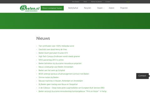 Screenshot of Press Page beelen.nl - Nieuwsoverzicht | Beelen - captured Sept. 19, 2014