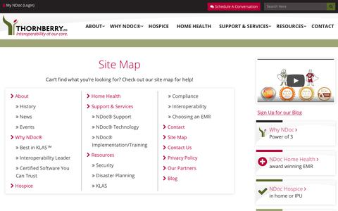 Screenshot of Site Map Page ndocsoftware.com - Site Map   Thornberry Ltd. - captured Oct. 25, 2017