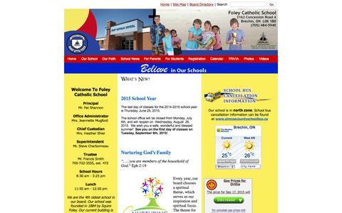 Screenshot of smcdsb.on.ca - Foley Catholic School - captured Sept. 16, 2015