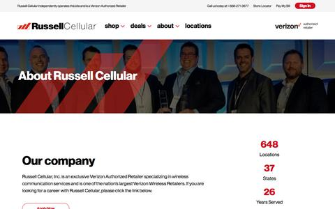 Screenshot of About Page russellcellular.com - About – Russell Cellular - captured Jan. 14, 2020