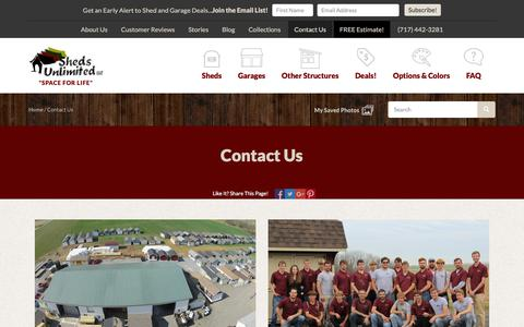 Screenshot of Contact Page shedsunlimited.net - These Local Amish Sheds Builders are Famous for their Hard work - captured Sept. 24, 2018