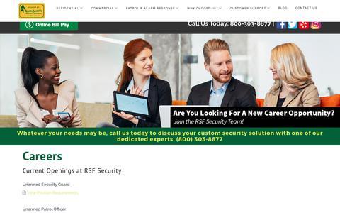 Screenshot of Jobs Page rsfsecurity.com - Careers - captured Oct. 19, 2017