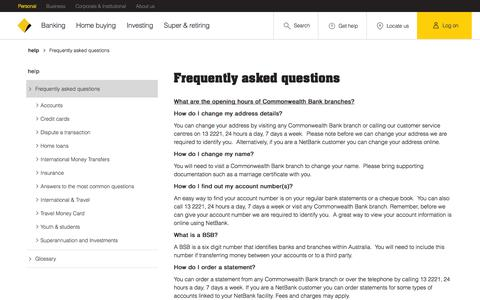 Screenshot of Services Page commbank.com.au - Help - Frequently asked questions - Commonwealth Bank Group - captured Nov. 14, 2016