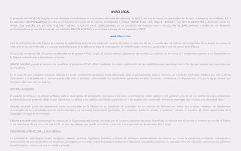Screenshot of Terms Page salerm.com - Legal |Salerm Cosmetics ES - captured Sept. 19, 2014