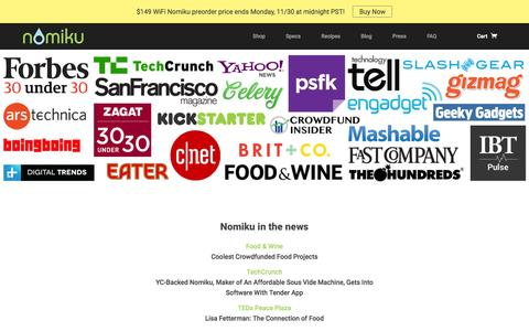 Screenshot of Press Page nomiku.com - Press | Nomiku - captured Dec. 1, 2015