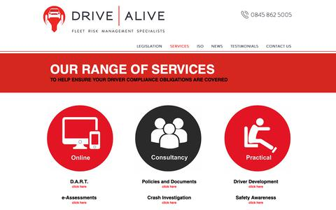 Screenshot of Services Page drivealive.co.uk - Fleet Risk Management | List of Services | Drive Alive - captured Oct. 24, 2018