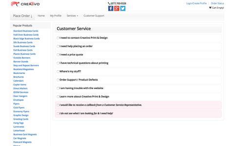 Screenshot of Support Page creativo-usa.com - Home Page - captured Nov. 13, 2016