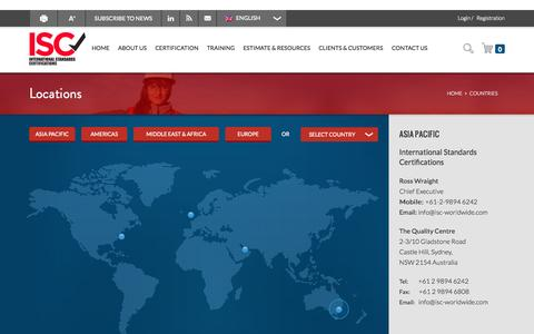 Screenshot of Contact Page Locations Page isc-worldwide.com - Countries Archive - ISC Worldwide - captured Oct. 23, 2014