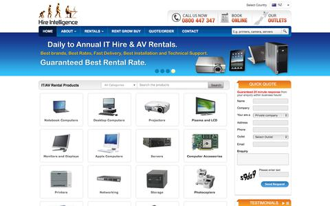 Screenshot of Home Page hire-intelligence.co.nz - Hire Intelligence - Computer Rental   Laptop Hire   Tablet PC Rental   Printer Hire   Projector Rental   Plasma TV Hire   Audio Visual Rentals   Lease Server - captured Feb. 16, 2018