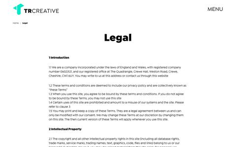 Screenshot of Terms Page trcreative.co.uk - Legal - TRCREATIVE - captured Dec. 18, 2018