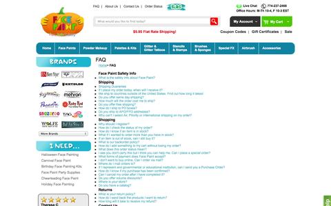 Screenshot of FAQ Page facepaint.com - FacePaint - Frequently Asked Questions - captured Oct. 31, 2014