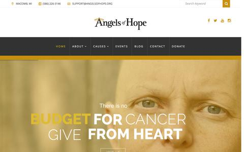 Screenshot of Home Page angelsofhope.org - Angels of Hope | A Family Cancer Foundation - captured Dec. 25, 2015