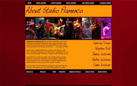 Screenshot of About Page studioflamenco.com - About Studio Flamenco - captured Oct. 9, 2014