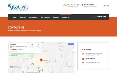 Screenshot of Contact Page gtacivils.co.uk - Contact Us - captured Sept. 26, 2018