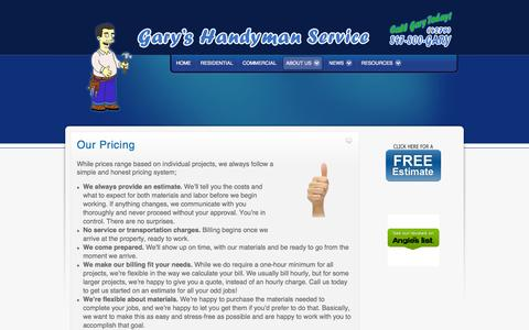 Screenshot of Pricing Page 800gary.com - Our Pricing   Pricing - captured Oct. 2, 2014