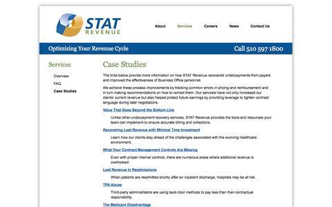 Screenshot of Case Studies Page statrev.com - Case Studies | Stat Revenue - captured Oct. 3, 2014