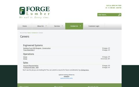 Screenshot of Jobs Page forgelumber.com - Forge Lumber - Careers - captured Sept. 30, 2014