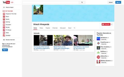Screenshot of YouTube Page youtube.com - Hirsch Vineyards  - YouTube - captured Oct. 23, 2014