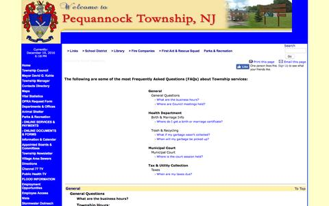 Screenshot of FAQ Page peqtwp.org - Frequently Asked Questions - Township of Pequannock, Morris County, New Jersey - captured Dec. 19, 2016