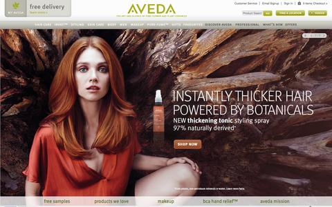 Screenshot of Home Page aveda.co.uk - Aveda UK | Official UK Site | Homepage - captured Oct. 19, 2015