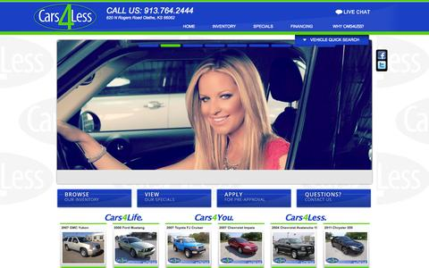 Screenshot of Home Page cars4.com - Cars4Less | Olathe, KS Used Car Dealership Near Kansas City - captured Oct. 2, 2014