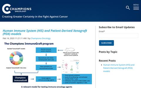 Screenshot of Blog championsoncology.com - Champions Oncology Blog - captured Feb. 21, 2020
