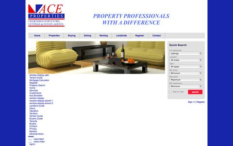 Screenshot of Site Map Page aceproperties.co.uk - Sitemap - Ace Properties - captured Sept. 30, 2014