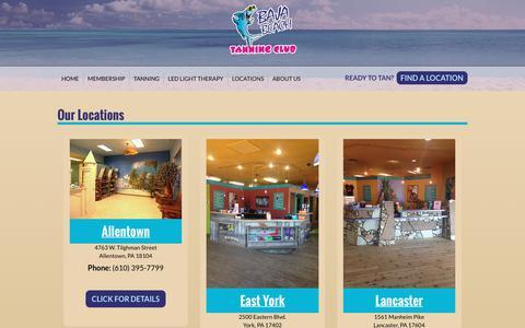 Screenshot of Locations Page bajabeachtanning.com - Locations | Baja Beach Tanning Club - captured Oct. 9, 2017