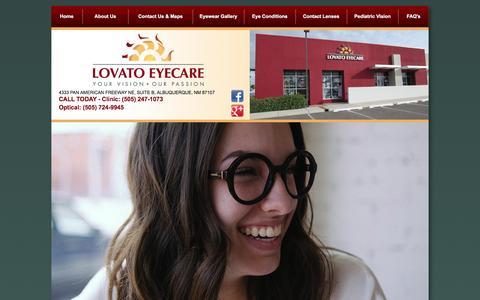 Screenshot of Home Page lovatoeyecare.com - Lovato Eyecare | Eye Doctor Albuquerque - captured Dec. 12, 2015