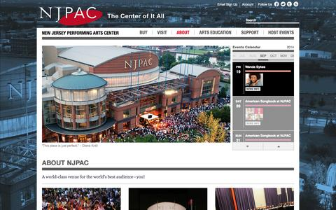 Screenshot of About Page njpac.org - New Jersey Performing Arts Center :: About NJPAC - captured Sept. 18, 2014