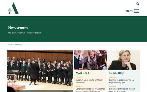 Screenshot of Press Page theabbey.co.uk - Newsroom | The Abbey School - captured Feb. 15, 2016