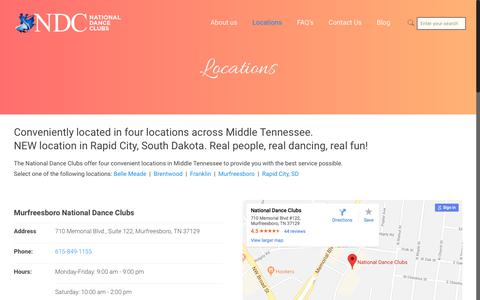 Screenshot of Locations Page nationaldanceclubs.com - Locations – National Dance Clubs – Experience Ballroom - captured Jan. 31, 2018