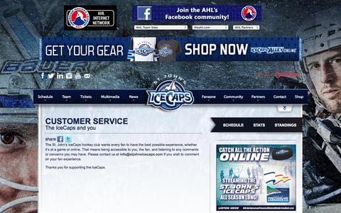 Screenshot of Support Page stjohnsicecaps.com - Customer Service | St. John's IceCaps | AHL - captured Oct. 7, 2014